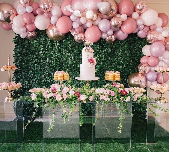 Organic balloons, greenery & flowers