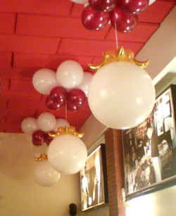 White & Burgundian Ceiling Balloons