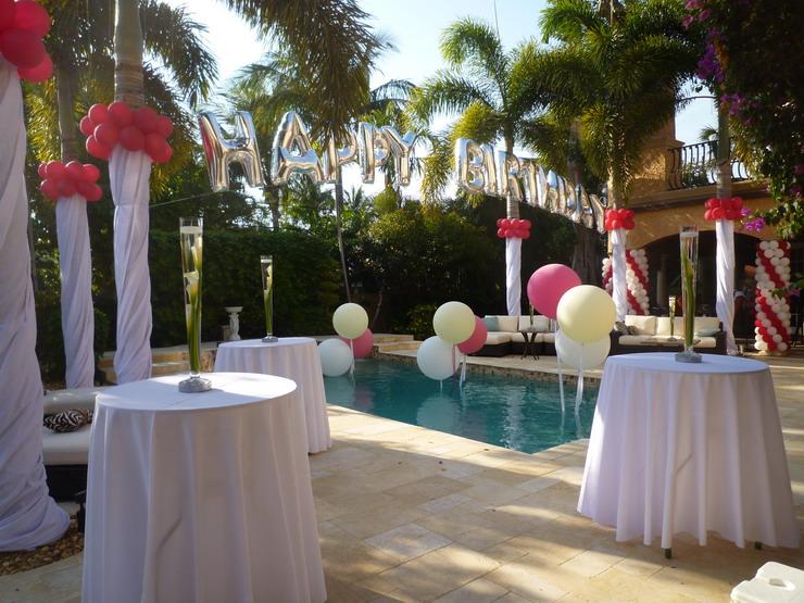 Pool party backyard decoration