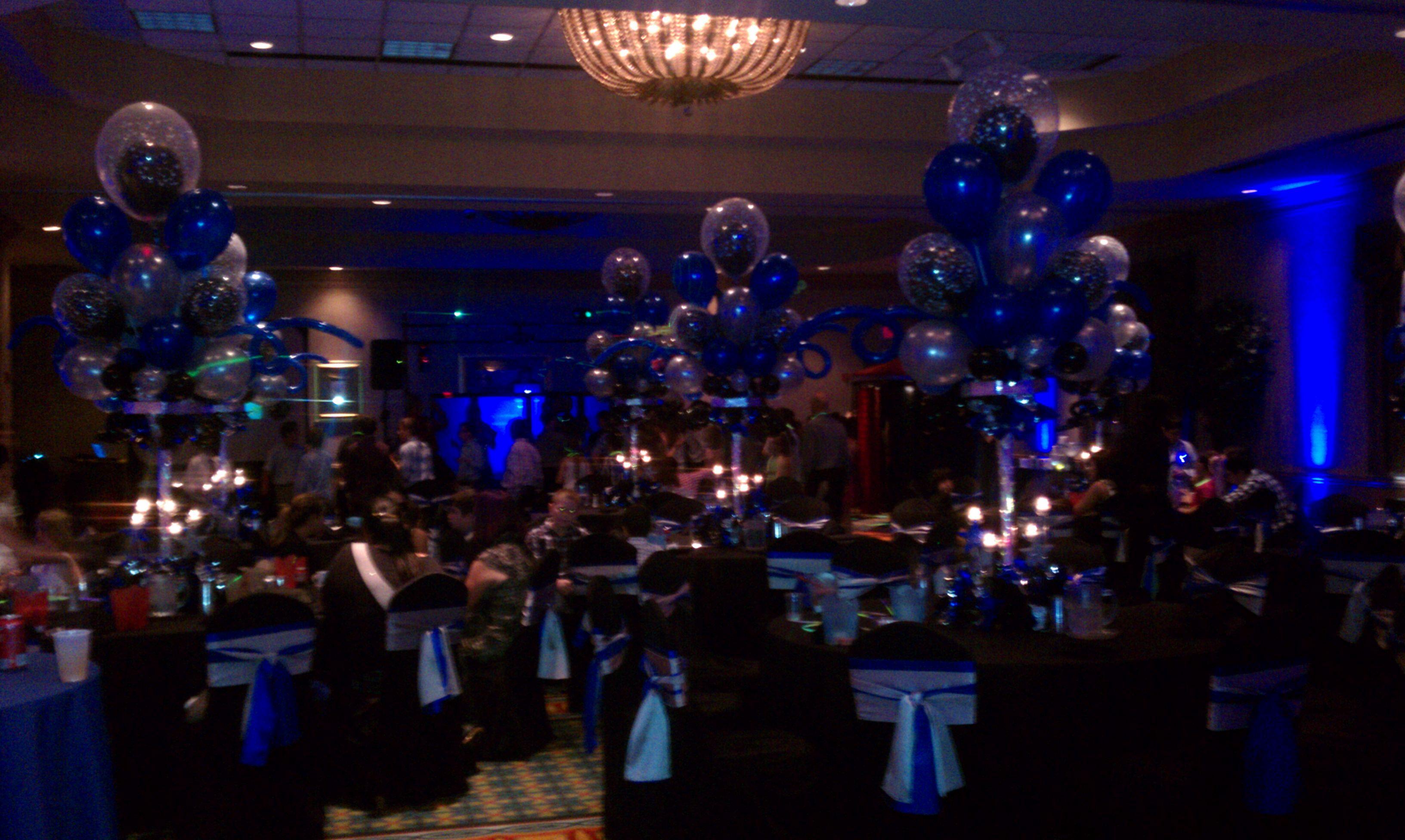 Blue, White, Silver, & Light Ballons