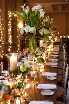 Flowers and Candles Centerpiece