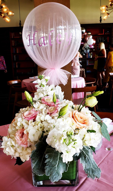 Custom balloon design and flowers