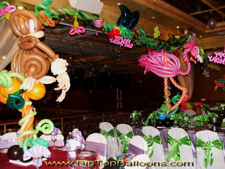 Tropical themed balloon animals