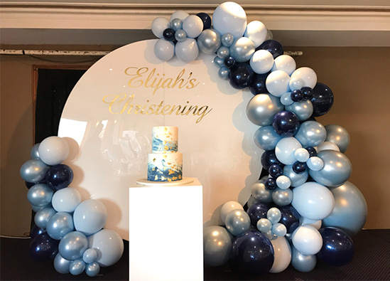 White Round Backdrop, Cake Pedestal