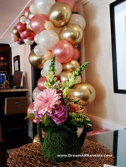 Elegant Rose Gold Balloons & Flowers