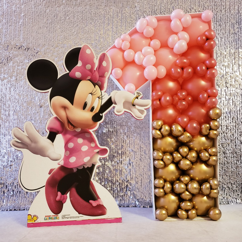 Minnie First Birthday mosaic balloon num