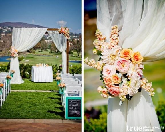 Wedding Ceremony Peach Flowers