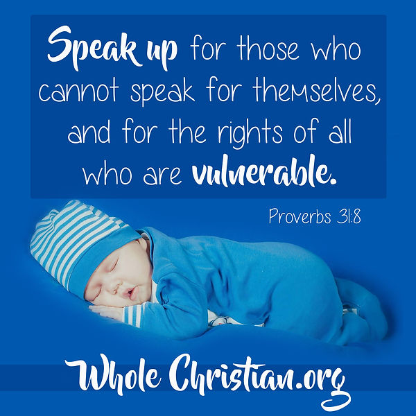 Speak up for thoe who cannot speak for themselves, and for the rights of all who are vulnerable. Proverbs 31:8 Whole Christian Network