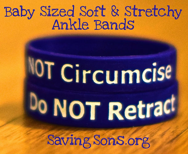 Do NOT Circumcise - Do NOT Retract Baby Bands for boys. Soft and stretchy ankle bracelet for newborn babies and intact care.