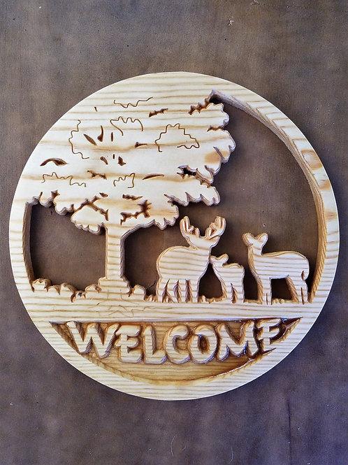Deer Scene Welcome Sign