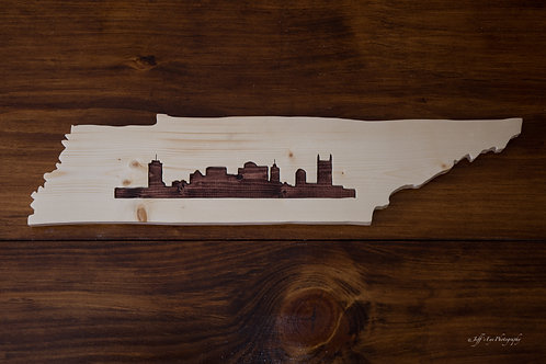 State Cutout - Tennessee Sign w/ Nashville Skyline