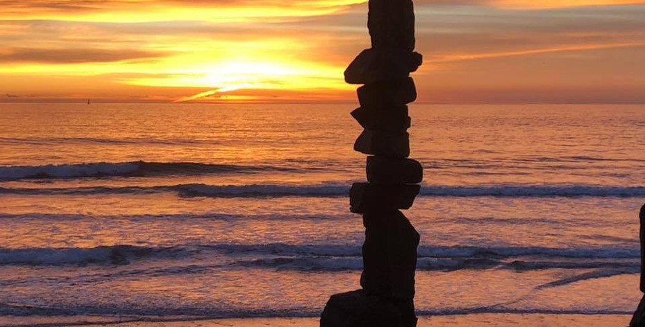 Rock stack at sunset