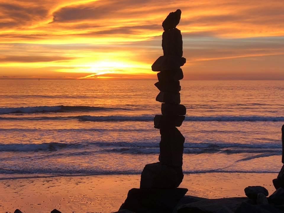 Rock stack at sunset