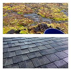 A before and after photo of a mossy rooftop.