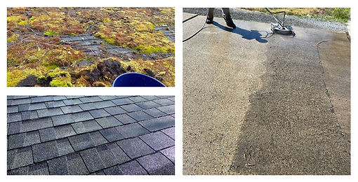 A before and after photo of a mossy rooftop and dirty driveway.