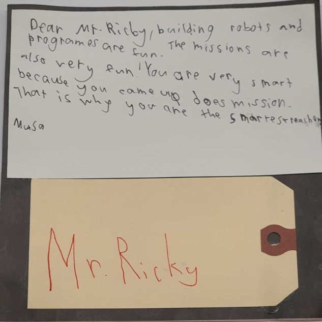 Happy Teacher's Day card from a student who progressed from KinderSTEM to WeDo robotics and now at Mindstorms to Teacher Ricky.