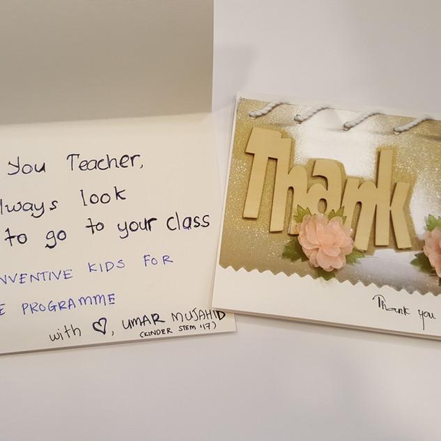 Handwritten card from a parent to our teachers.