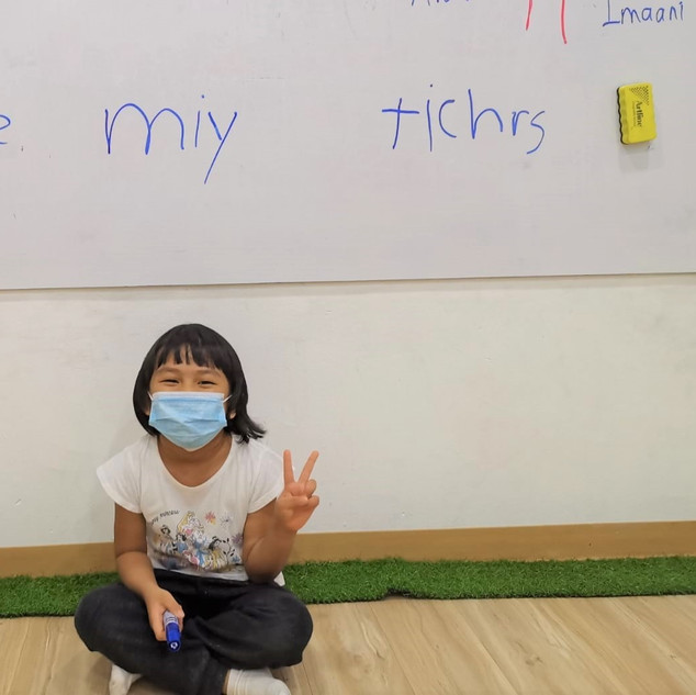 Our student's sweet message for her teachers!
