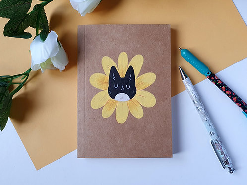 Yellow Flower Cat Notebook