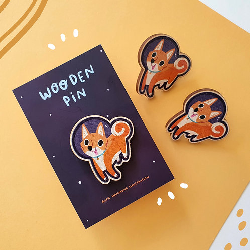Space Dog Wooden Pin