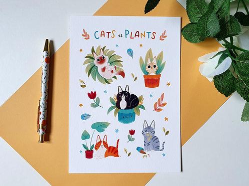 Cats vs. Plants Art Print