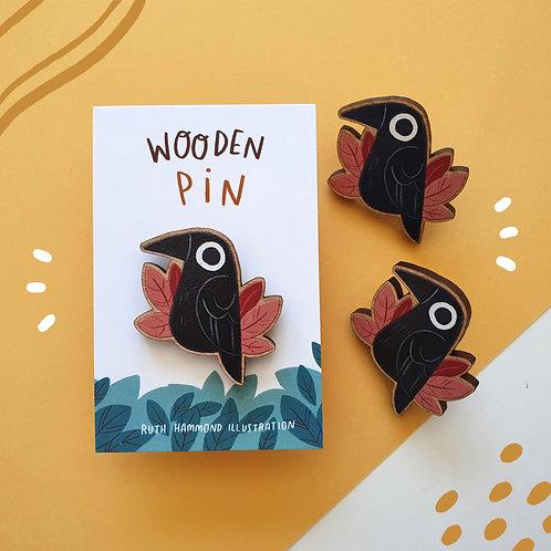 Little Raven Wooden Pin