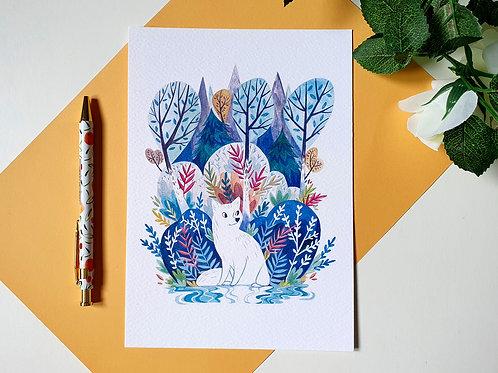 White Fox A5 Art Print