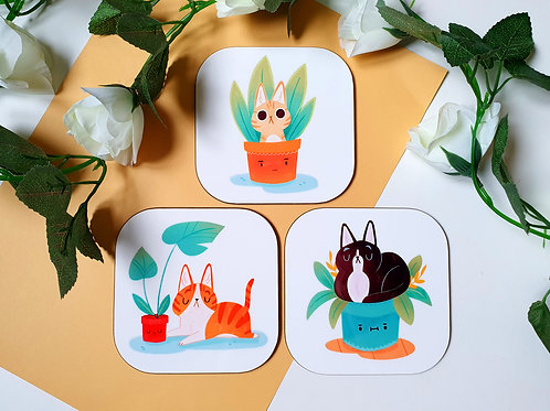 Cats vs. Plants Coasters
