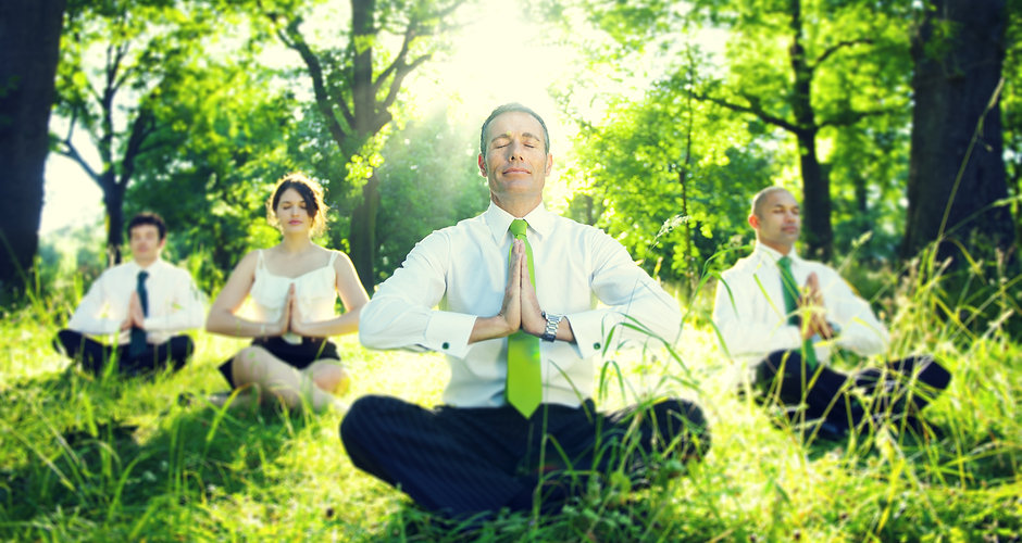 Business people meditating in the wood_s