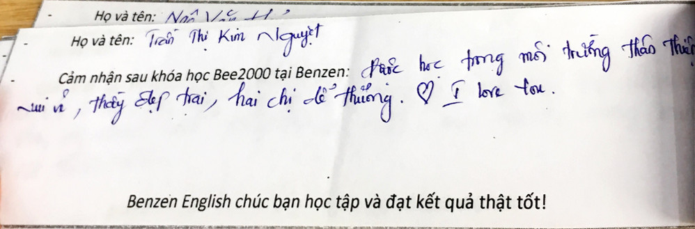 Cam nhan hoc vien Benzen English - luyen