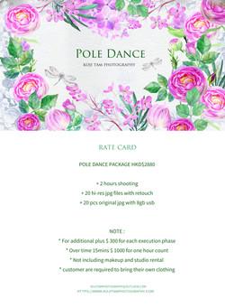 POLE DANCE RATE CARD