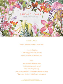 BRIDAL SHOWER RATE CARD