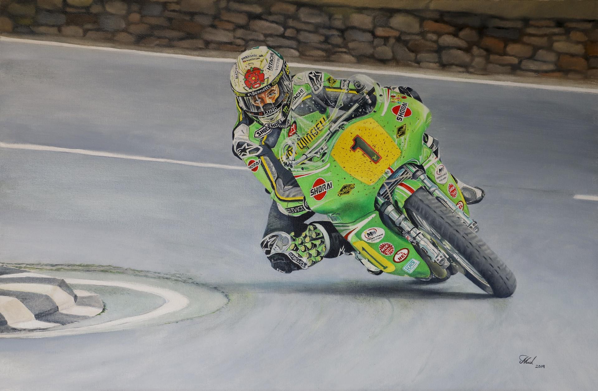 John McGuinness riding the Winield Paton