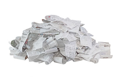 Pile of paper cash register receipts iso