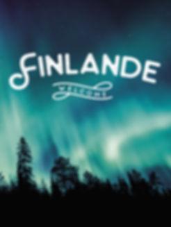 Brochure sur la Finlande avec une ouverture forêt et aurore boréale