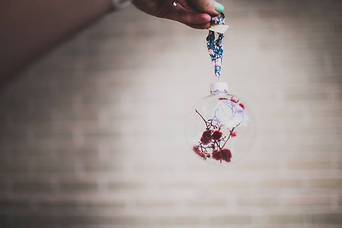 Dried Floral Glass Ornament