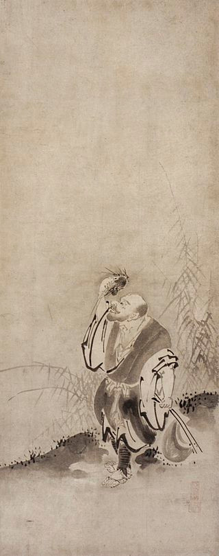 The Tang dynasty Buddhist monk Xianzi was famous for breaking meat-eating taboo. Here he seating shrimp.