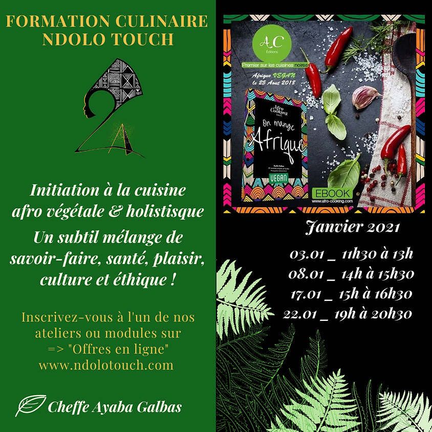FORMATION CULINAIRES AFRO VEGETAL ONLINE (Forfait 4 ateliers)