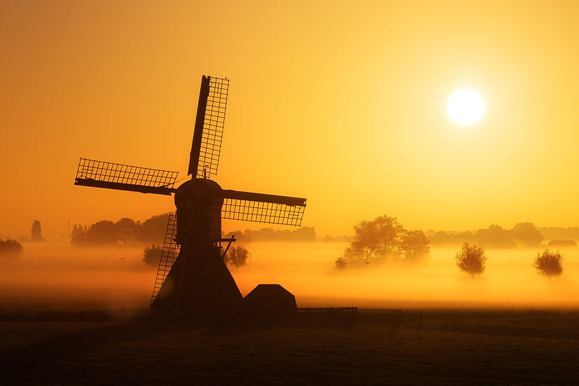 Golden Sun on a Windmill, The Netherlands