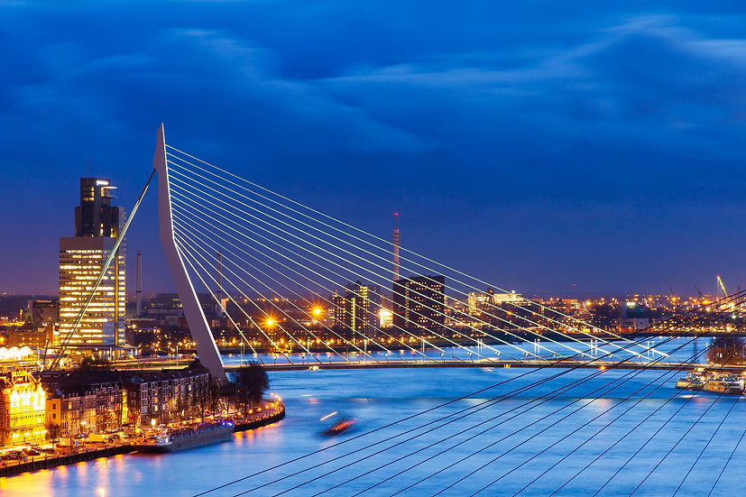 Erasmus Bridge Blue Hour, Rotterdam