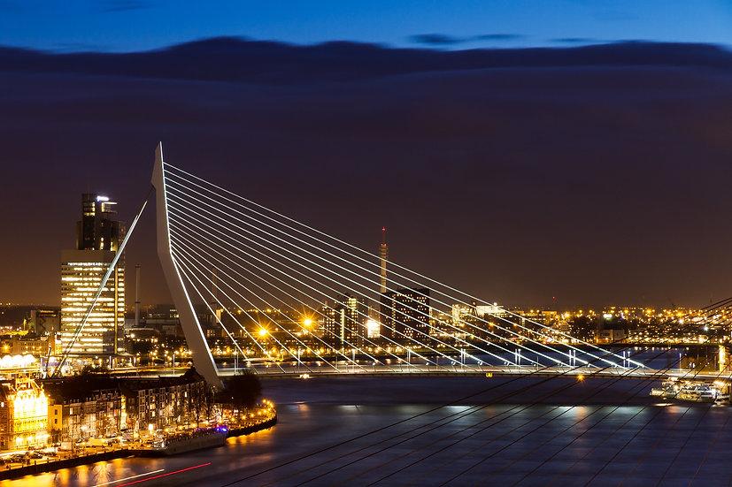 Erasmus Bridge Night Falls, Rotterdam