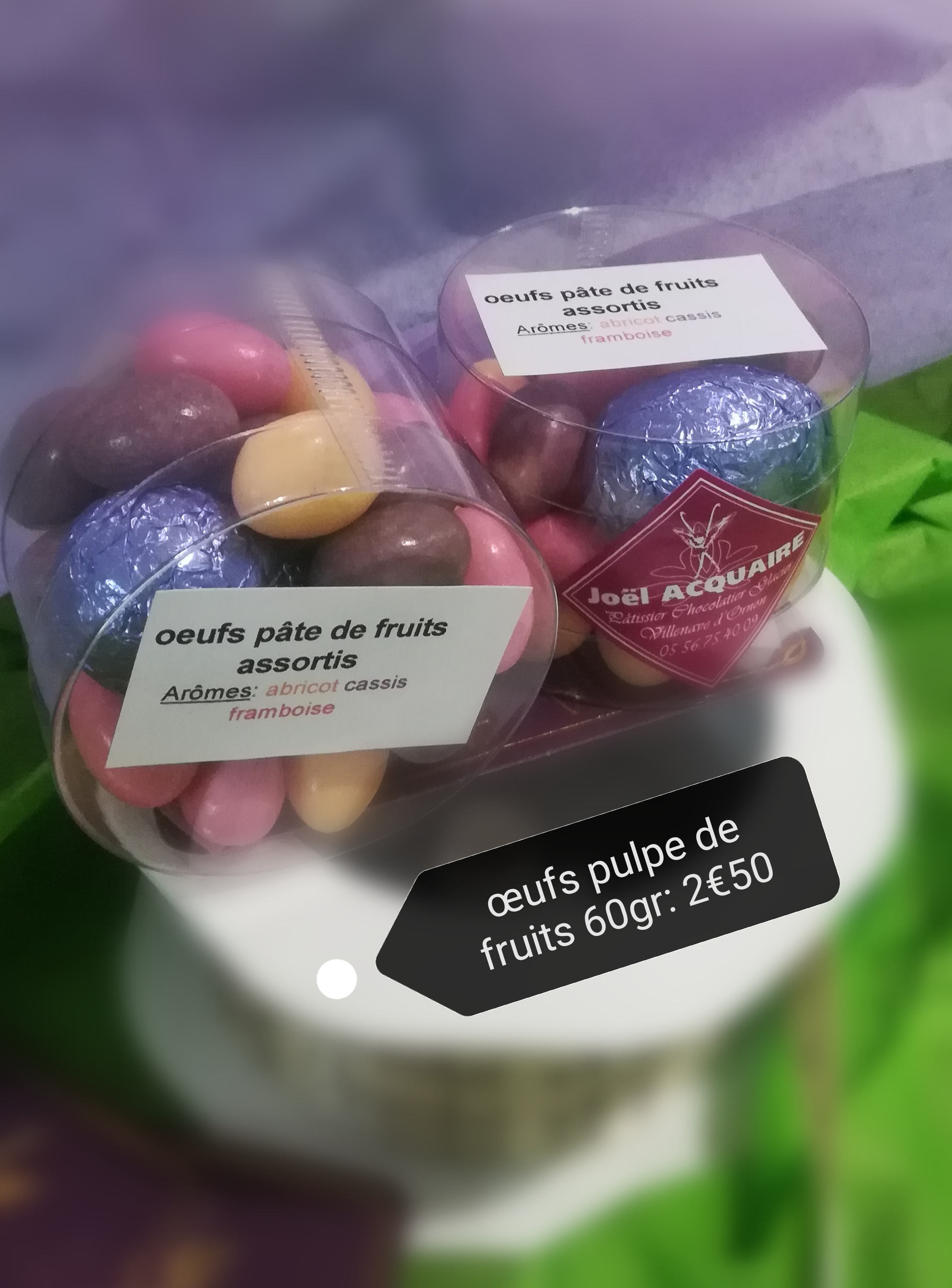 Les oeufs pulpes de fruits 60 gr