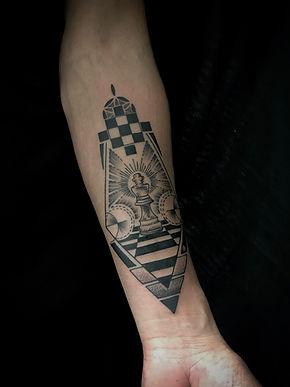Deity tattoo, chess piece tattoo, geometric chess tattoo, king chess piece tattoo, geometric arm tattoos, fineline geometric tattoo, custom chess piece tattoo, king tattoo, men with tattoos, black and grey tattoo