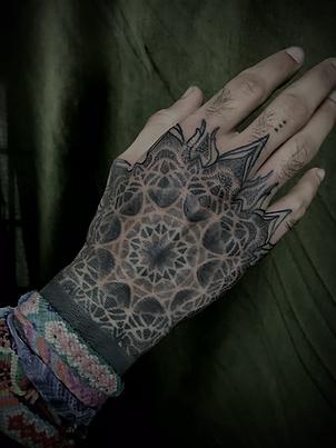 lgbtqi friendly tattoo artists, hand tattoo, dotwork tattoos, mandala tattoo, mandala hand tattoo