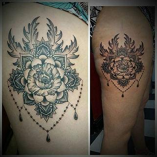 ornamental tattoo, ornamental tattoos, leg tattoo, thigh tattoos, flower mandala tattoo