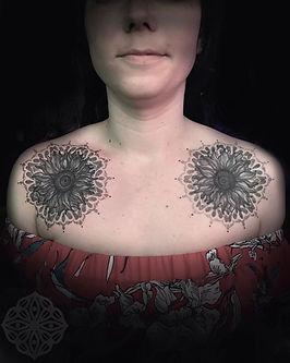 sunflower tattoo, flower tattoos, chest tattoos, girly tattoos, pretty tattoos, matching tattoos, tattoo artist in london, deity tattoo, london artist, healed tattoo, fresh tattoo, tattooed girls, dotwork tattoo