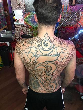 tibetan tattoo, back tattoo, work in progress tattoos, divine canvas, deity tattoo, xed lehead