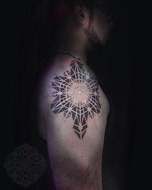 amazing dotowrk tattoos, deity tattoo, dotwork tattoos in london, geometric tattoo, mandala tattoos, tattoo work in progress, mens tattoo, best london tattoo studio, central london tattoo studio, tattoo studio in london, best dotwork geometric tattoo in london