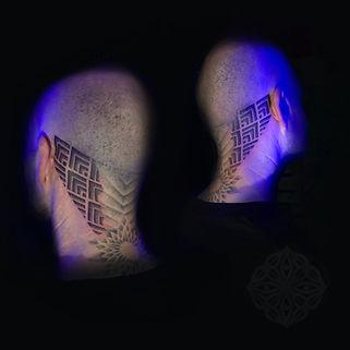 dotwork tattoo, geometic tattoos, head tattoos, tattooed heads, neck tattoos, throat tattoos, deity tattoo, divine canvas, london geometric tattoo artist, dotwork tattoos in london, geometric tattoo london, best dotwork tattoo artist in london, best tattoo studios in london, dotwork in london