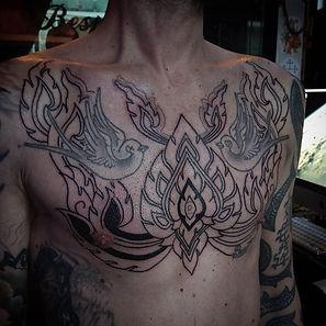 mens chest tattoos, thai tattoo,